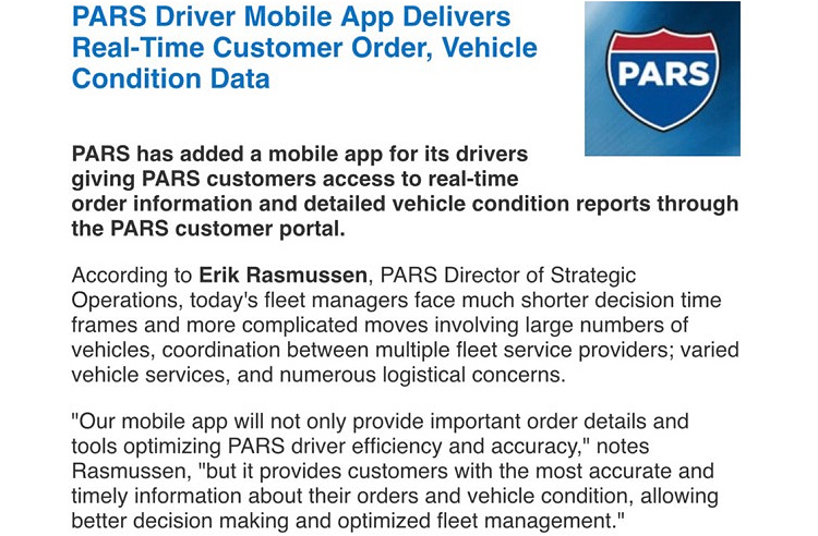 PARS' new driver mobile app made headlines in the AFLA edition of Fleet Management Weekly!